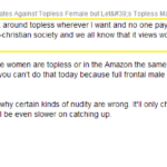 Male Viewer Thoughts on Toplessness and Male Privilege