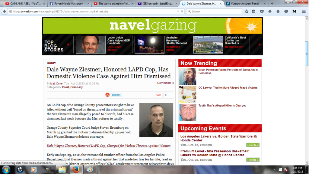 Dale Wayne Ziesmer LAPD Officer Domestic Violence Charge