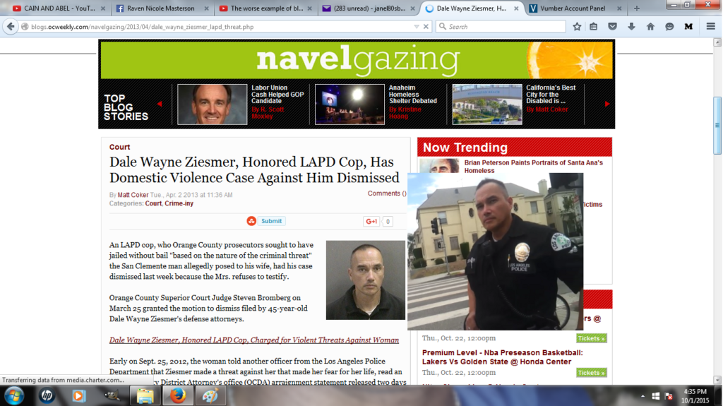 Dale Wayne Ziesmer LAPD Officer Domestic Violence Charge Newspaper